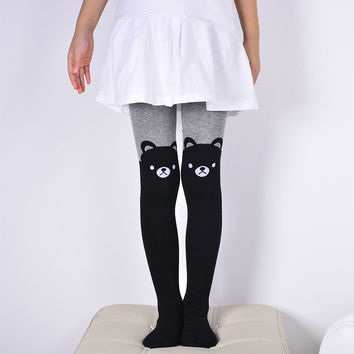 Hot Sales 1 Pair Autumn/Winter Girl's Splice Thick Leggings Devil Cat Cotton Knitted Stitching Pantyhose Kids Girl Clothes 1-14T
