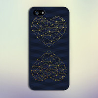 Navy Blue Chevron x Geometric Gold Heart Design Case for iPhone 6 6 Plus iPhone 5 5s 5c iPhone 4 4s Samsung Galaxy s5 s4 & s3 and Note 4 3 2