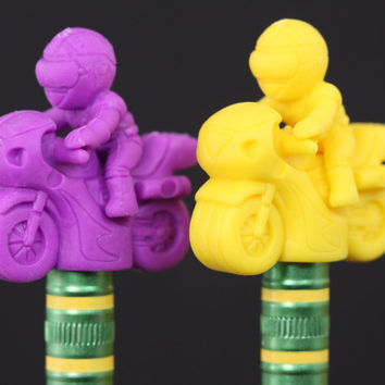 Purple and Yellow Motorcycle Pencil Topper Pair