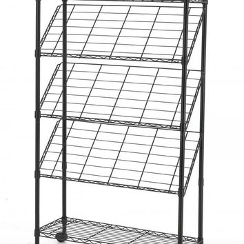 Black 4-Tier Magazine Show Rack Trade Show Literature Brochure Display M61