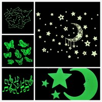 Taotown Fluorescence Glow in Dark Luminous Cartoon Moon Star Nursery Baby Room Home Decor Wall Stickers for Kids Rooms Decal