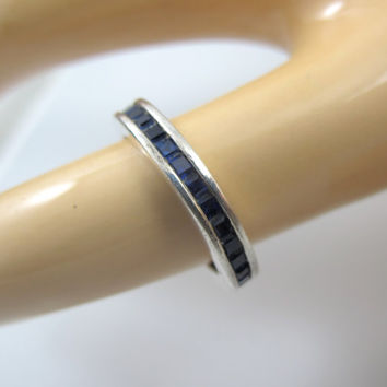 Vintage Art Deco Sterling Eternity Band Ring Sapphire Blue Glass Paste Channel Set Size 5.75