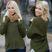 Better Days Sweater (Olive) - Piace Boutique