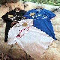 Burberry Embroidery Logo Cotton T-shirt