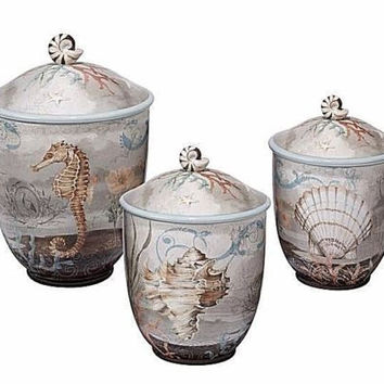 3 Piece Canister Set Coastal Ocean Sea Life Nautical Beach Tropical Kitchen Deco