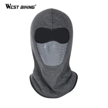 WEST BIKING Winter Cycling Face Mask Dust-proof Windproof Fleece Warm Full Face Cap Scarf Neck Snowboard Thermal Bicycle Mask