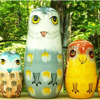 The Owls Nesting Stacking Dolls 51/2 by No1Store on Etsy