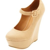 Mary Jane Platform Wedge Pumps by Charlotte Russe - Natural