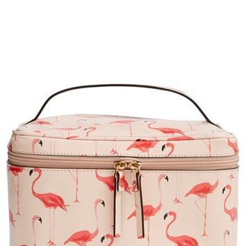 Women's kate spade new york 'cedar street flamingos - large natalie' cosmetics case - Shell