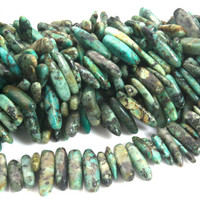 African turquoise stick beads - green gemstone dagger beads - natural stone slice beads - gemstone stick spike beads - 12-21mm -15inch