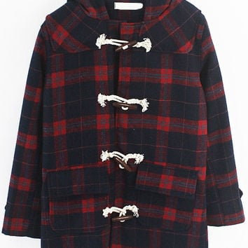 Red Plaid Hooded Horn Button Coat with Pocket