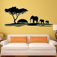 Vinyl Decal Wall Stickers Elephant African Animals Landscape Tree Mural (ig1918)