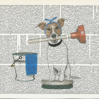 Dictionary Art Print Dog Doing Chores on Upcycle Vintage Page Book Print Art  Print Collage Print