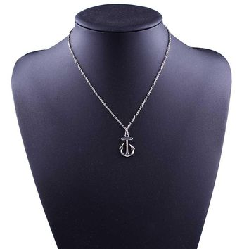 Simple Design Cute Anchor Silver Pendant Bib Necklace