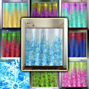 Winter Frozen Icicles Snowflake Shower Curtain bathroom decor fabric kids bath window curtains panels bathmat valance