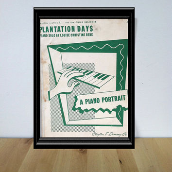 Plantation Days Piano Solo Sheet Music {1949} Vintage Paper Ephemera