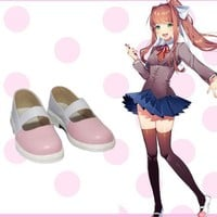 Monika Cosplay Shoes Game Doki Doki Literature Club Game Cosplay Shoes Pink Janpanese Shoes