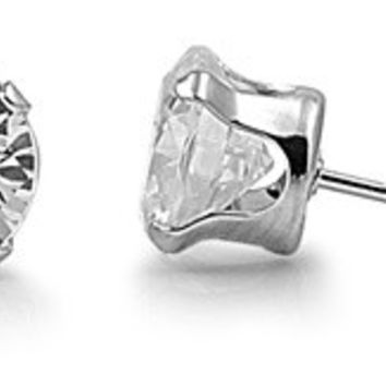 925 Sterling Silver CZ Stamping Round Stud Earrings 6MM Birthstone