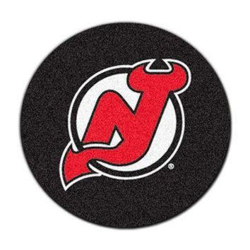 VONE05B NHL New Jersey Devils Hockey Puck Shaped Accent Rug