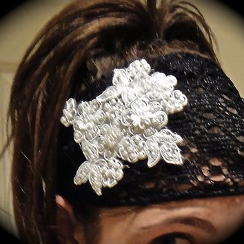 Reserved for kiara monique--lace tie headband with flower applique
