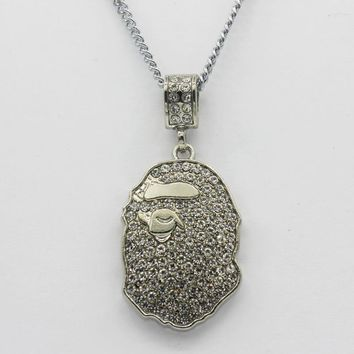 8DESS BAPE Woman Men Fashion Diamonds Necklace Jewelry
