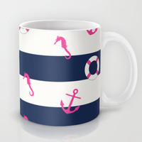 Nautical Stripes (hot pink & navy) Mug by daniellebourland