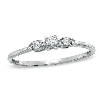 1/10 CT. T.W. Diamond Three Stone Ring in 10K White Gold - Save on Select Styles - Zales