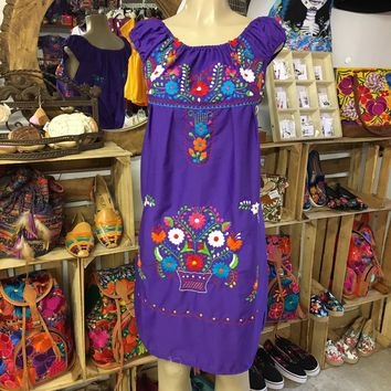 Mexican Traditional Embroidered Dress Off-Shoulder Purple