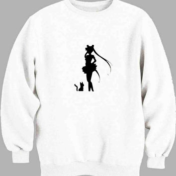 Deluxe Sailor Moon Crisis Moon Compact Black Sweater for Mens Sweater and Womens Sweater *
