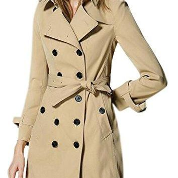 Women's Elegant Double-Breasted Lapel Long Slim Fit Trench Coat with Belt