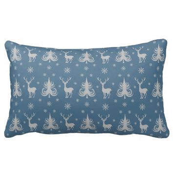 Christmas Holiday Deer Stag Pattern Blue Silver Throw Pillow