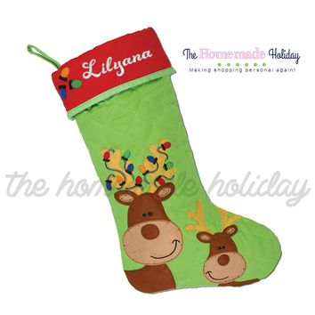 Stephen Joseph Reindeer Embroidered Christmas Stocking