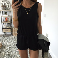 Casual Drawstring Backles  Romper