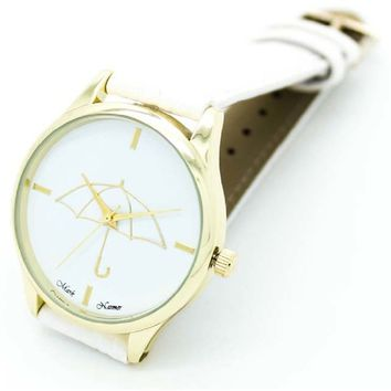 Umbrella Style Print Leather Band Analog Watch