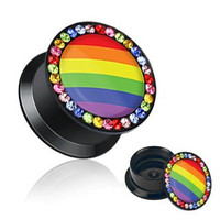 Rainbow Flag with Multi Color Gemmed Rim Screw Fit Flat Flared Stash Acrylic Plug - 0G (8mm) - Sold as a Pair
