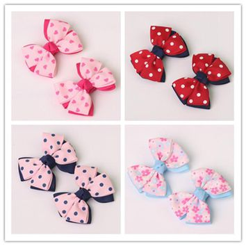 2pc boutique barrettes for children baby  hair ribbon bows clips for girls hairpins double clip accessories headdress Hairgrips