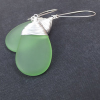 Seafoam Green Drop Earrings:  Fine Silver Wire Wrapped Beach Wedding Jewelry, Spring Green Sea Glass Dangle Earrings