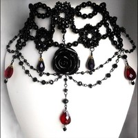 Black Rose Gothic Victorian Choker Red Crystal Tear Drop Bead Necklace