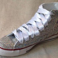 DCCK1IN white chuck taylor high tops crystal rhinestone converse bridal prom romany