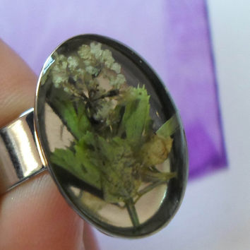 Handmade Resin Jewelry Ring, Botanical Ring, Nature Fashion Ring, Eco Resin Statement ring,  Terrarium Ring, OOAK Unique Rustic Ring