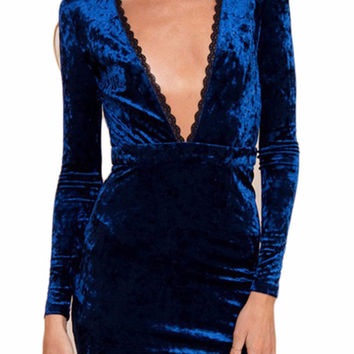 Misha Deep V Velvet Dress