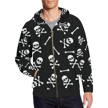 Skull Pattern Men's All Over Print Full Zip Hoodie