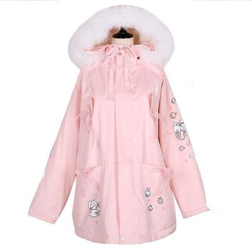 Sweet Fur Collar Women Long Parkas Coat Fleece Lining Lolita Pink Jacket Cotton Bow Tie Bunny Prints Winter Warm Outwear Coats