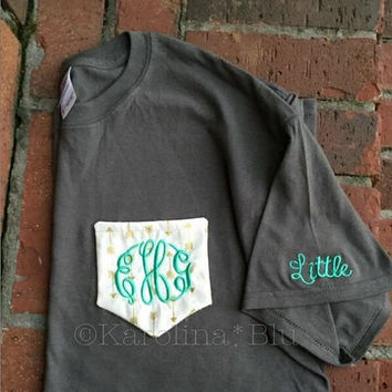Monogrammed pocket tee with initials or greek letters. Great for sororities and big/little