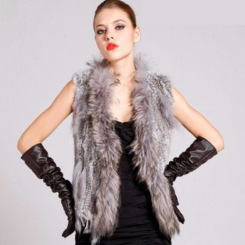 Winter Women natural rabbit fur vest with raccoon fur collar female casual knitted real rabbit fur clothing new fashion