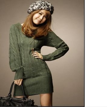 Bigsweety New Fashion Long Sweaters Autumn Winter Women Pullovers Jumper Fall Female V-Neck Basic Knitted Sweater Dress