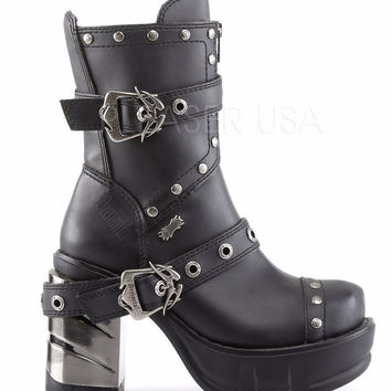 Sinister 201 Chrome Block Heel Goth Punk Platform Ankle Boot