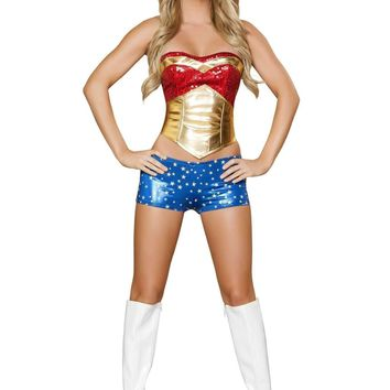 Roma Costume 4377 4Pc Wonder Heroine