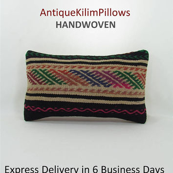 embroidered pillows antique kilim pillow lumbar pillow home decor decorative pillows  bedding bedroom decor 000690