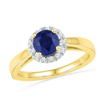 10kt Yellow Gold Womens Round Lab-Created Blue Sapphire Solitaire Ring 1-1/8 Cttw